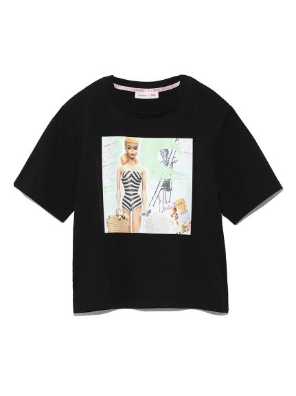 BarbieビーチプリントTシャツ(BLK-F)