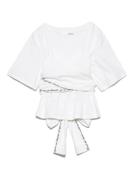 バックリボン刺繍Tシャツ(WHT-F)