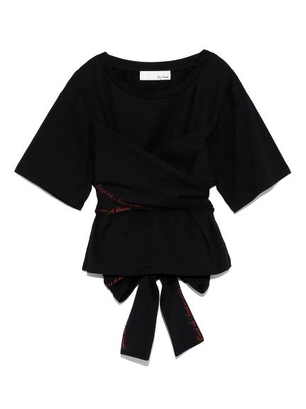 バックリボン刺繍Tシャツ(BLK-F)