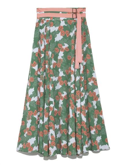 バラ柄ロングスカート