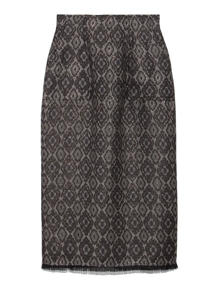 小紋ジャガードタイトスカート(BLK-F)