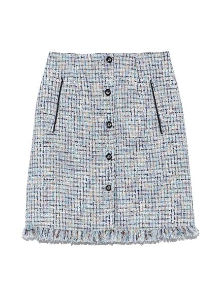ツイード台形スカート(BLU-0)