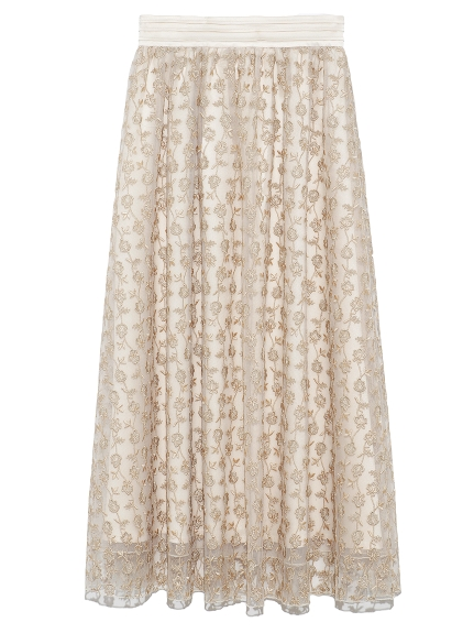 フラワー刺繍スカート(OWHT-F)