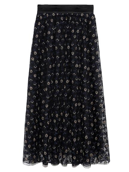 フラワー刺繍スカート(BLK-F)