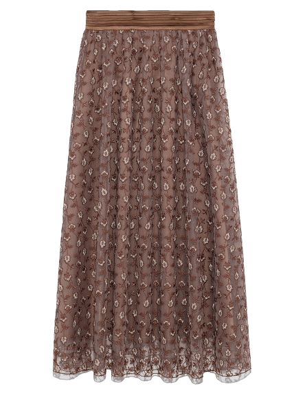 フラワー刺繍スカート(BRW-F)