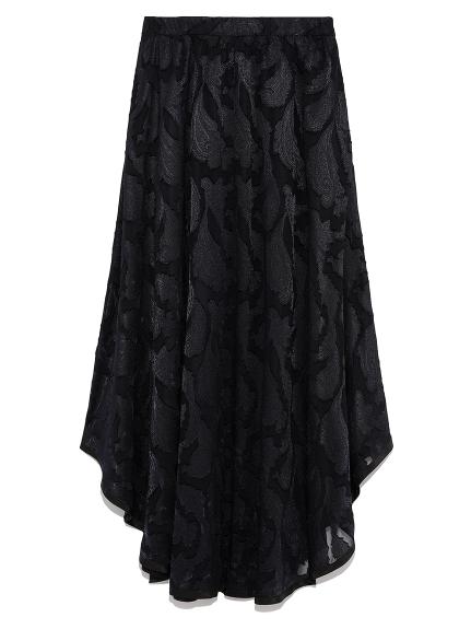 裾パイピングシフォンスカート(BLK-F)