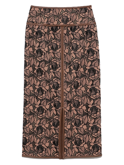 フラワー刺繍タイトロングスカート