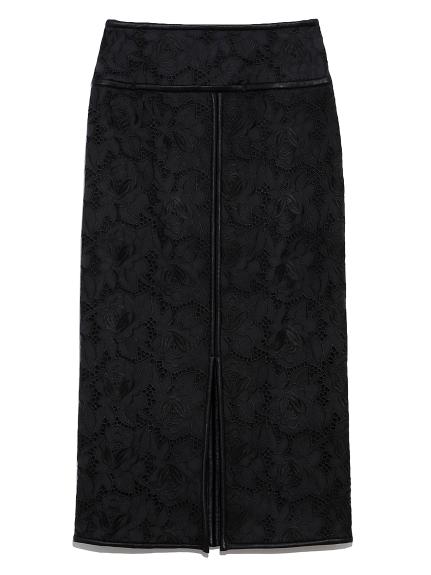 フラワー刺繍タイトロングスカート(BLK-0)