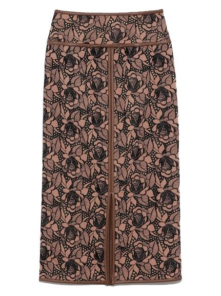 フラワー刺繍タイトロングスカート(BRW-0)