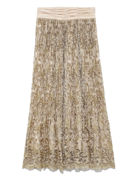 フラワー刺繍プリーツスカート(BEG-0)