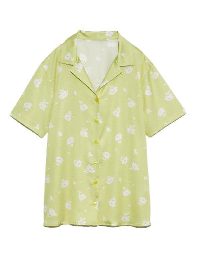 ドットフラワー開襟シャツ ¥7,800+tax
