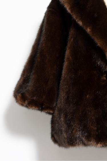 袖リブ付きファーコート
